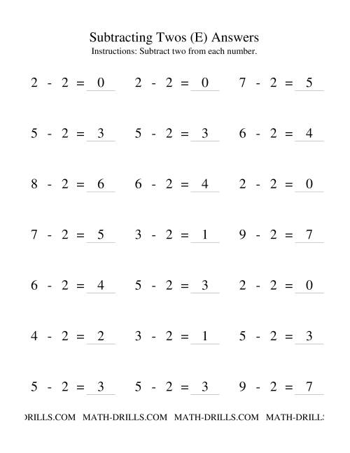 The Subtraction Facts -- Subtracting Twos (E) Math Worksheet Page 2