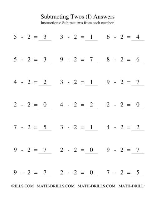 The Subtraction Facts -- Subtracting Twos (I) Math Worksheet Page 2