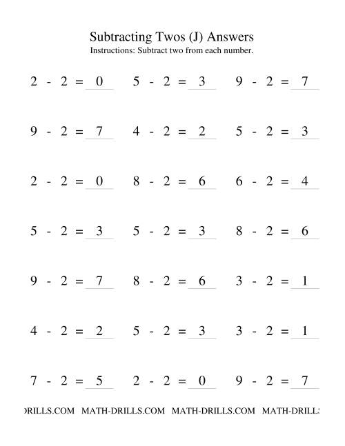 The Subtraction Facts -- Subtracting Twos (J) Math Worksheet Page 2