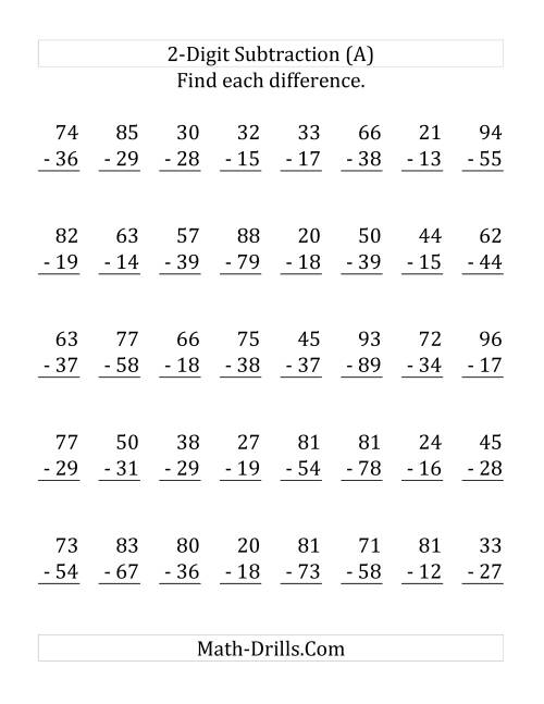 The 2-Digit Subtraction with All Regrouping (LP) Math Worksheet