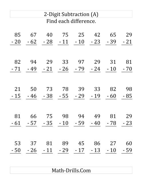 The 2-Digit Subtraction with Some Regrouping (LP) Math Worksheet