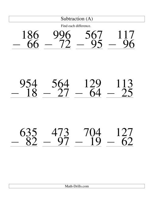 The Three-Digit Minus Two-Digit Subtraction -- Large Print (A) Math Worksheet
