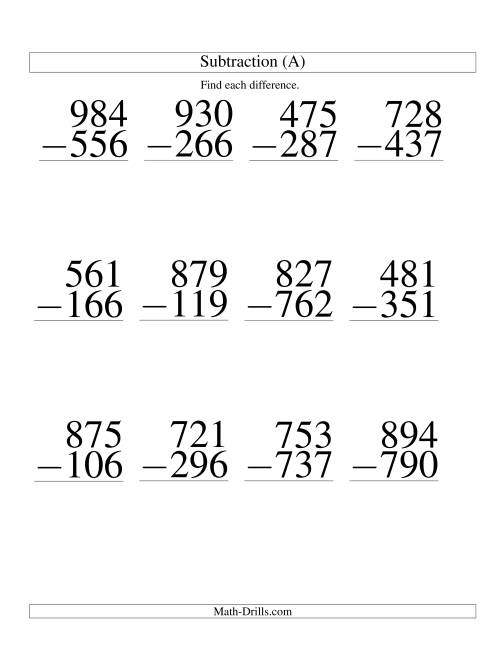 ThreeDigit Minus ThreeDigit Subtraction Large Print A – Math Worksheet Print