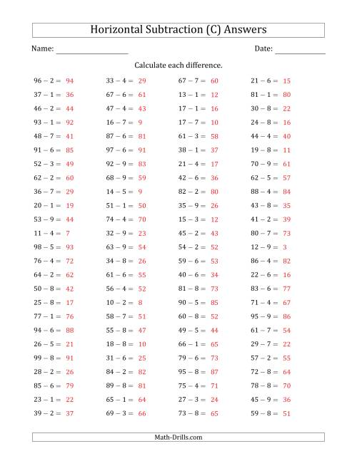 The Two-Digit Minus One-Digit Horizontal Subtraction (100 Questions) (C) Math Worksheet Page 2