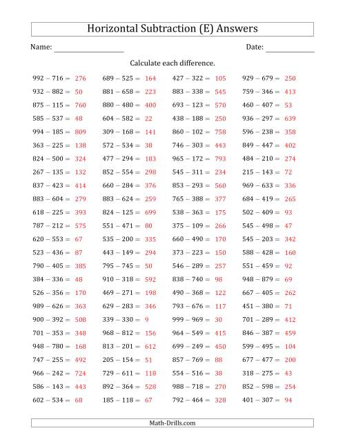 The Three-Digit Minus Three-Digit Horizontal Subtraction (100 Questions) (E) Math Worksheet Page 2