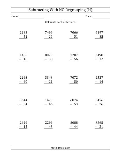 The 4-Digit Minus 2-Digit Subtraction with NO Regrouping (H) Math Worksheet