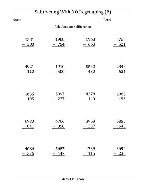 The 4-Digit Minus 3-Digit Subtraction with NO Regrouping (E) Math Worksheet