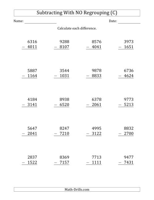 The 4-Digit Minus 4-Digit Subtraction with NO Regrouping (C) Math Worksheet