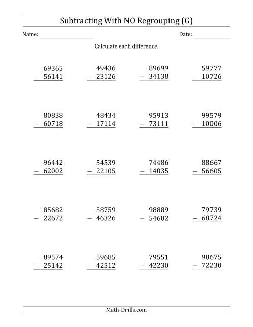 The 5-Digit Minus 5-Digit Subtraction with NO Regrouping (G) Math Worksheet