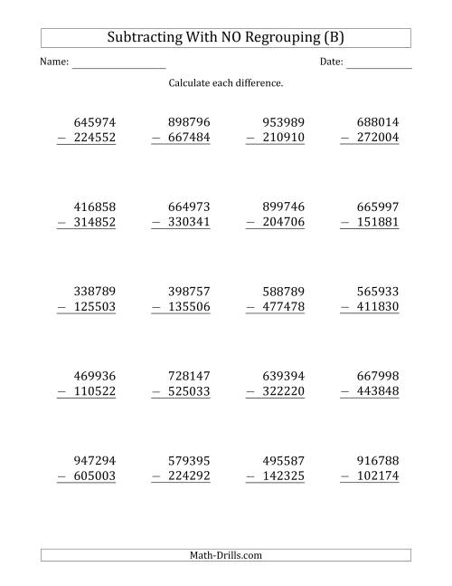 The 6-Digit Minus 6-Digit Subtraction with NO Regrouping (B) Math Worksheet