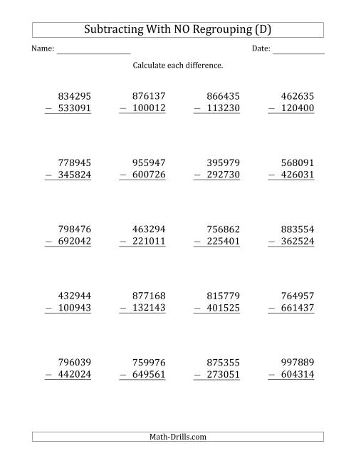 The 6-Digit Minus 6-Digit Subtraction with NO Regrouping (D) Math Worksheet