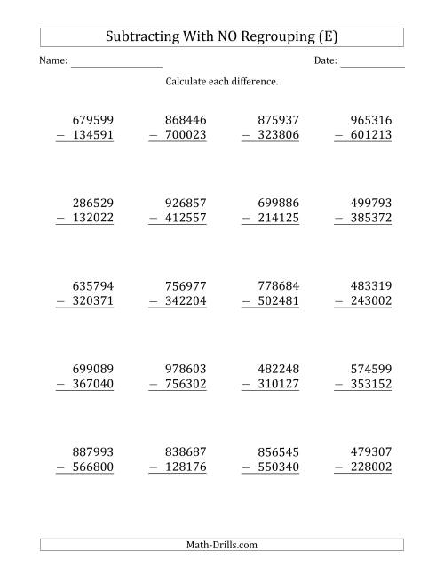 The 6-Digit Minus 6-Digit Subtraction with NO Regrouping (E) Math Worksheet