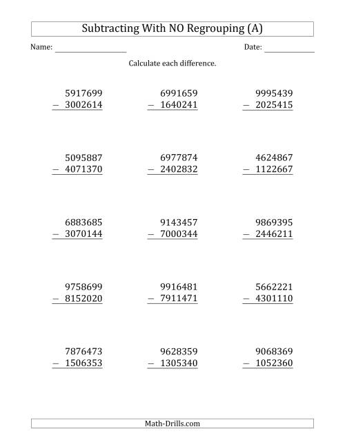The 7-Digit Minus 7-Digit Subtraction with NO Regrouping (A) Math Worksheet