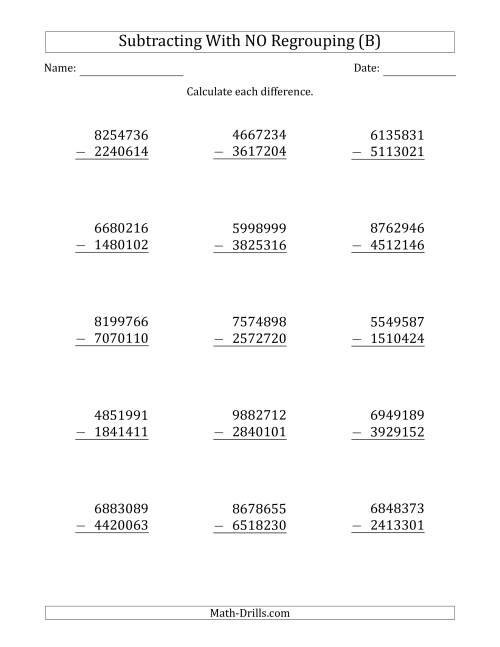 The 7-Digit Minus 7-Digit Subtraction with NO Regrouping (B) Math Worksheet