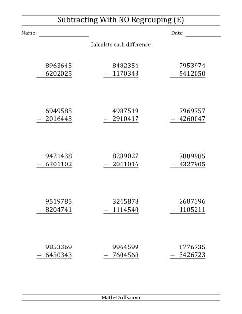 The 7-Digit Minus 7-Digit Subtraction with NO Regrouping (E) Math Worksheet