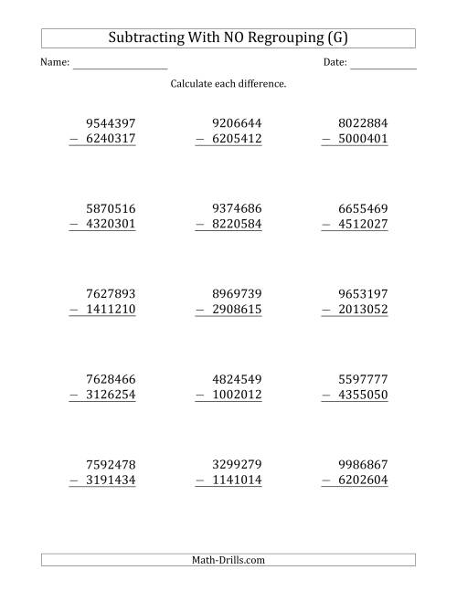 The 7-Digit Minus 7-Digit Subtraction with NO Regrouping (G) Math Worksheet