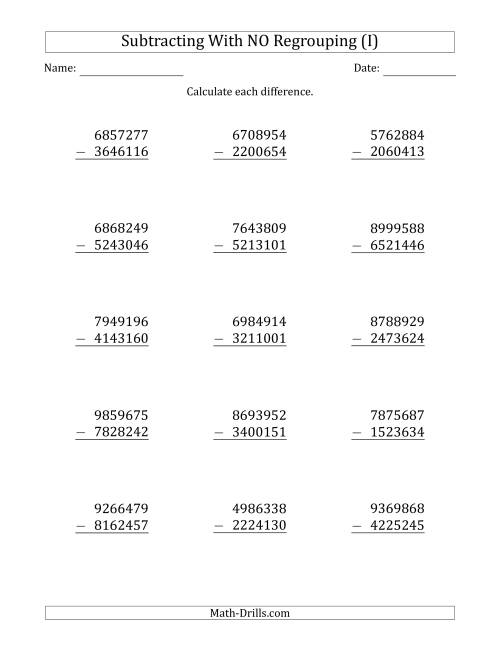 The 7-Digit Minus 7-Digit Subtraction with NO Regrouping (I) Math Worksheet