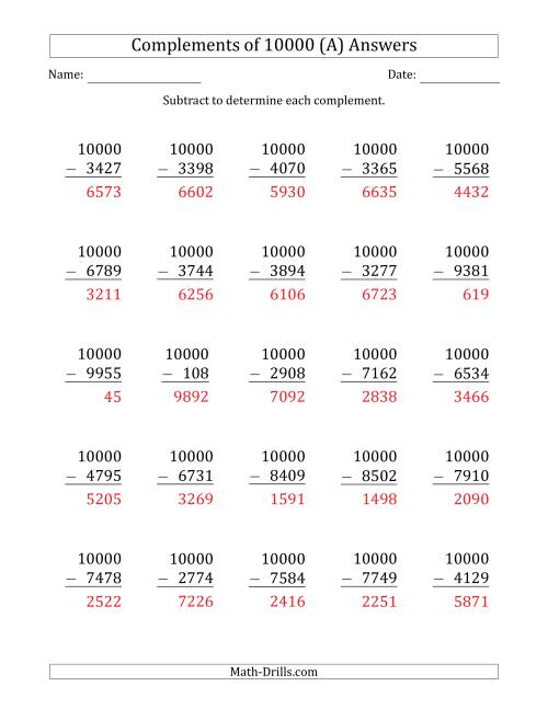 The Complements 10000 by Subtracting (A) Math Worksheet Page 2