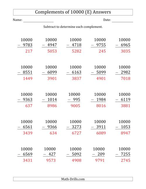 The Complements 10000 by Subtracting (E) Math Worksheet Page 2