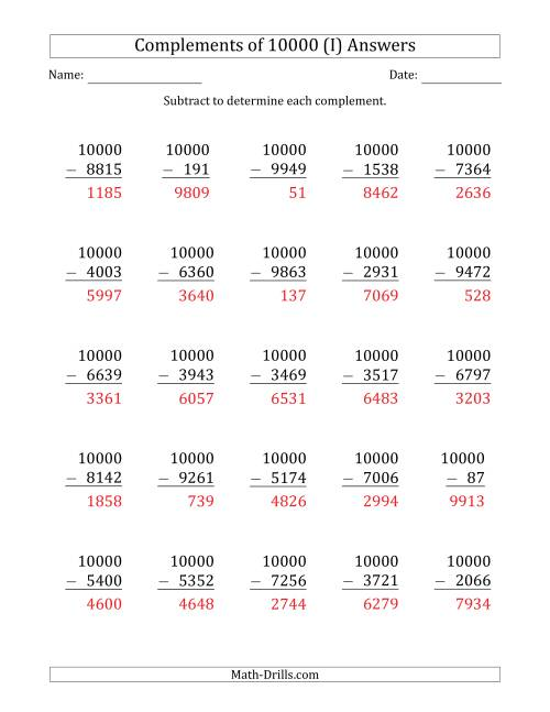 The Complements 10000 by Subtracting (I) Math Worksheet Page 2
