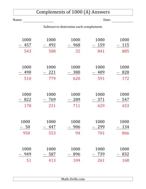 The Complements of 1000 by Subtracting (A) Math Worksheet Page 2