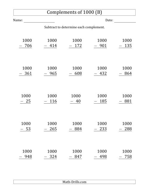 The Complements of 1000 by Subtracting (B) Math Worksheet