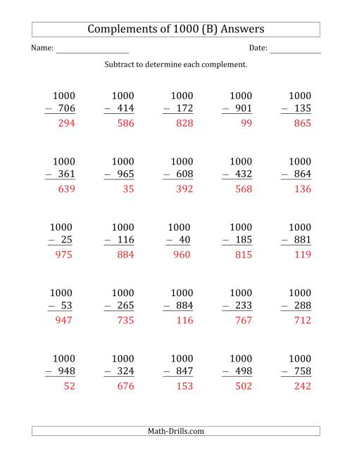 The Complements of 1000 by Subtracting (B) Math Worksheet Page 2
