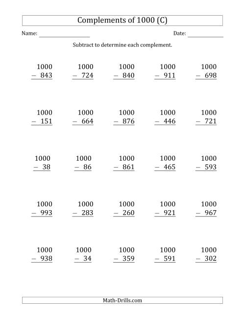 The Complements of 1000 by Subtracting (C) Math Worksheet