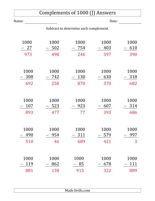 The Complements of 1000 by Subtracting (J) Math Worksheet Page 2