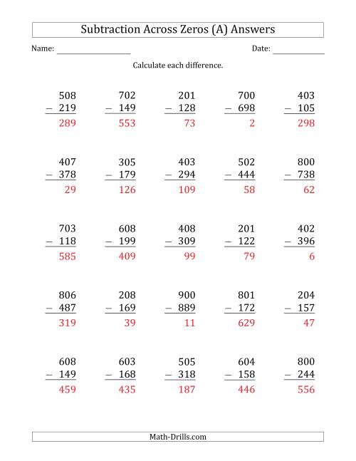 The 3-Digit Subtracting Across Zeros in the Middle (A) Math Worksheet Page 2
