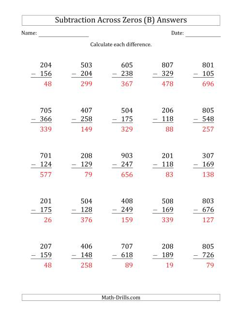 The 3-Digit Subtracting Across Zeros in the Middle (B) Math Worksheet Page 2