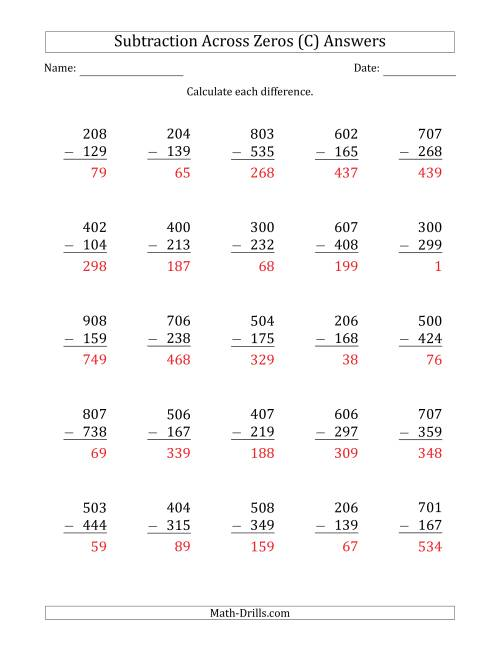 The 3-Digit Subtracting Across Zeros in the Middle (C) Math Worksheet Page 2