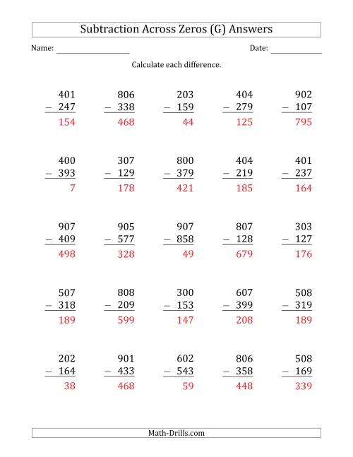 The 3-Digit Subtracting Across Zeros in the Middle (G) Math Worksheet Page 2