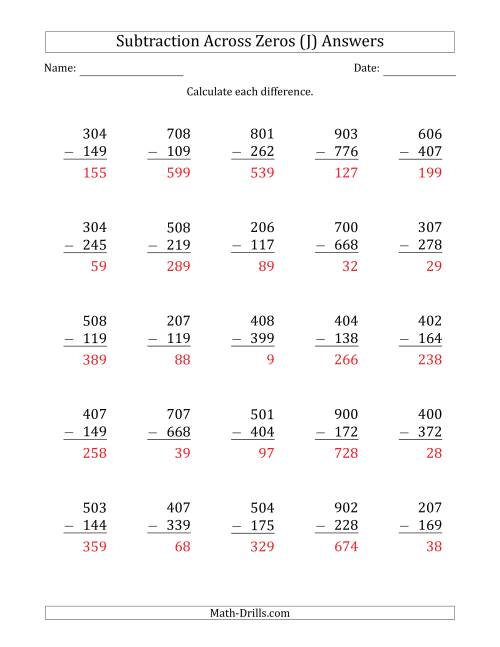The 3-Digit Subtracting Across Zeros in the Middle (J) Math Worksheet Page 2