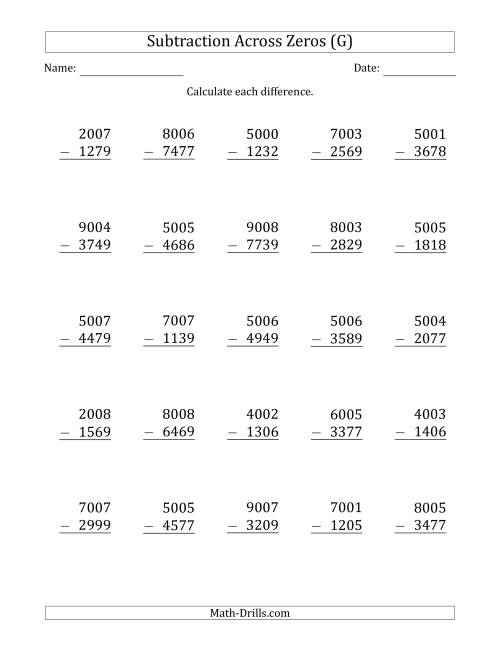 The 4-Digit Subtracting Across Zeros in the Middle (G) Math Worksheet