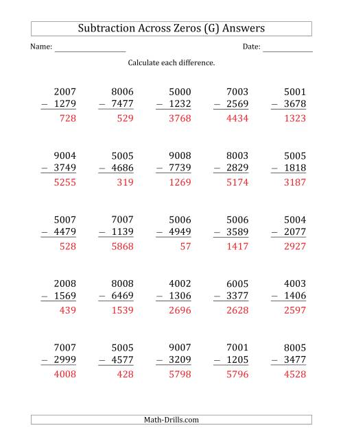 The 4-Digit Subtracting Across Zeros in the Middle (G) Math Worksheet Page 2