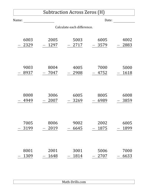 The 4-Digit Subtracting Across Zeros in the Middle (H) Math Worksheet