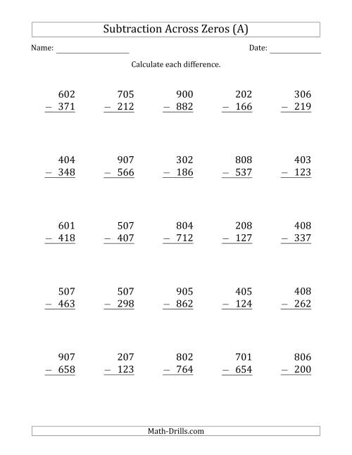 The 3-Digit Subtracting Across Zeros in the Middle (Ones Sometimes Need Regrouping) (A) Math Worksheet