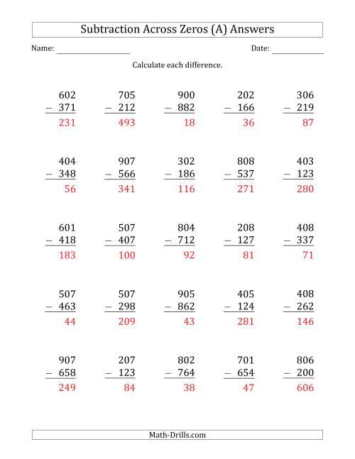 Subtraction Worksheets! No regrouping across zero... Great ...