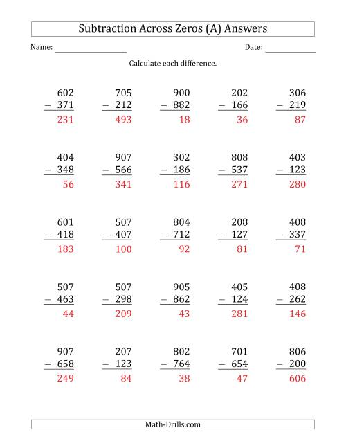 The 3-Digit Subtracting Across Zeros in the Middle (Ones Sometimes Need Regrouping) (A) Math Worksheet Page 2