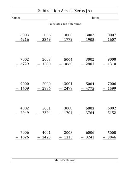 worksheet Subtraction With Regrouping Across Zeros Worksheets 4 digit subtracting across zeros in the middle ones sometimes need regrouping a