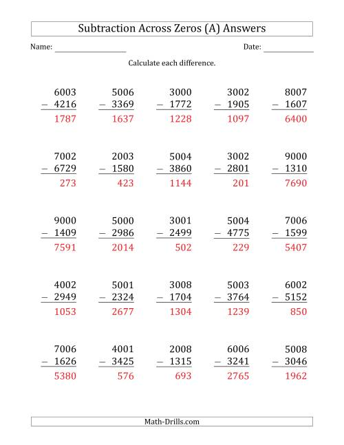 The 4-Digit Subtracting Across Zeros in the Middle (Ones Sometimes Need Regrouping) (A) Math Worksheet Page 2