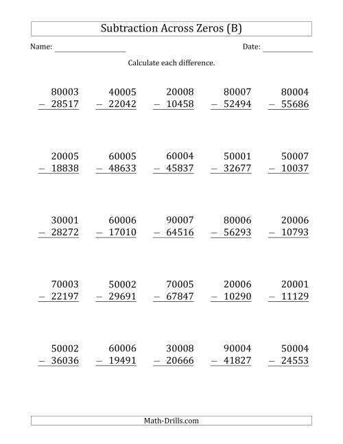 The 5-Digit Subtracting Across Zeros in the Middle (Ones Sometimes Need Regrouping) (B) Math Worksheet