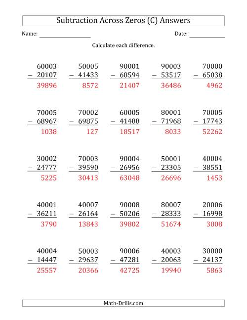 The 5-Digit Subtracting Across Zeros in the Middle (Ones Sometimes Need Regrouping) (C) Math Worksheet Page 2