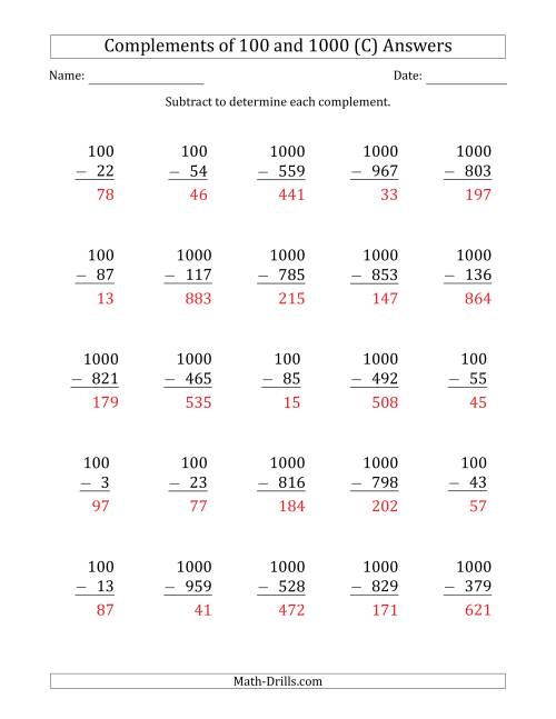 The Complements of 100 and 1000 by Subtracting (C) Math Worksheet Page 2