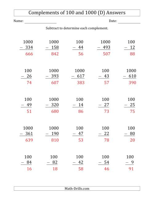 The Complements of 100 and 1000 by Subtracting (D) Math Worksheet Page 2