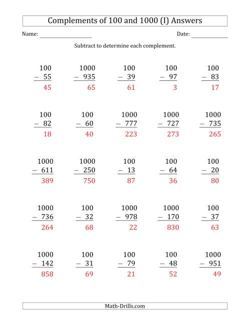The Complements of 100 and 1000 by Subtracting (I) Math Worksheet Page 2