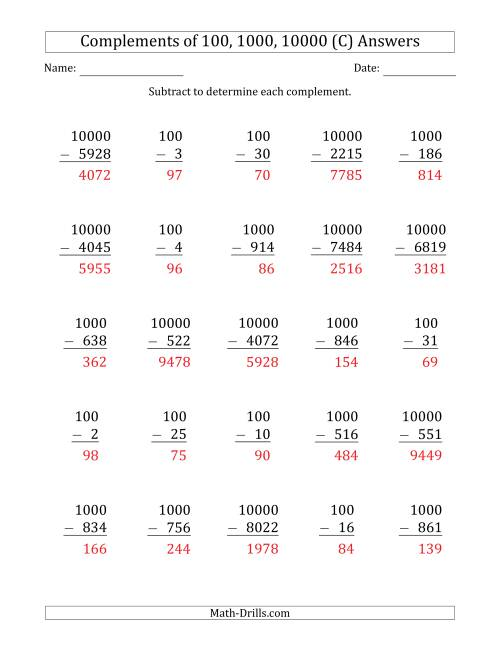 The Complements of 100, 1000 and 10000 by Subtracting (C) Math Worksheet Page 2