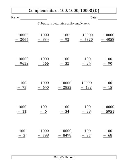 The Complements of 100, 1000 and 10000 by Subtracting (D) Math Worksheet
