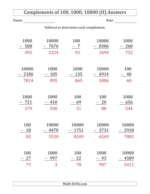 The Complements of 100, 1000 and 10000 by Subtracting (H) Math Worksheet Page 2